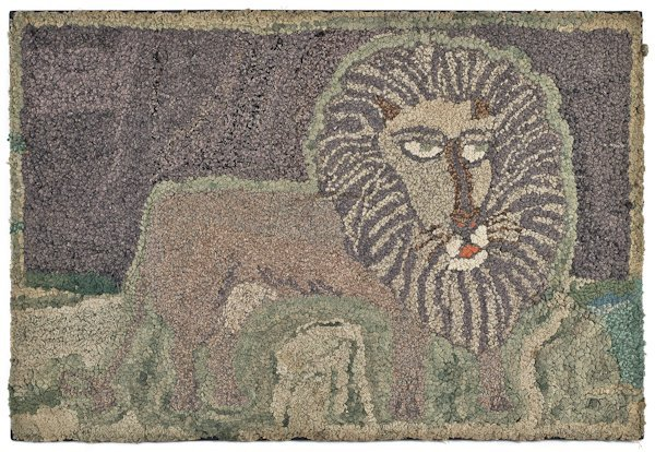 Hooked rug of a lion, early 20th c., with a var