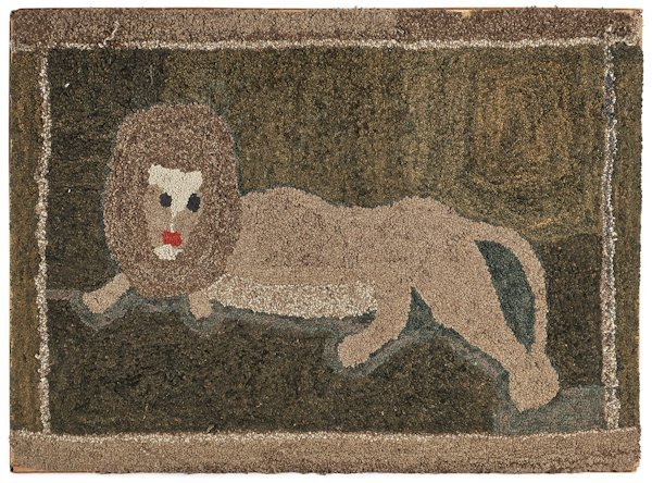 American hooked rug of a recumbent lion, 20th c.