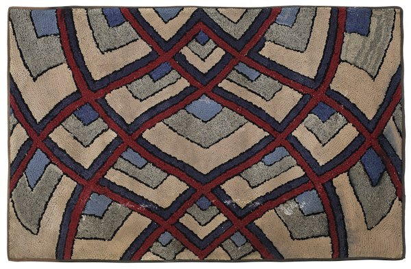 Hooked rug ''Reflection in red and blue'', early 1