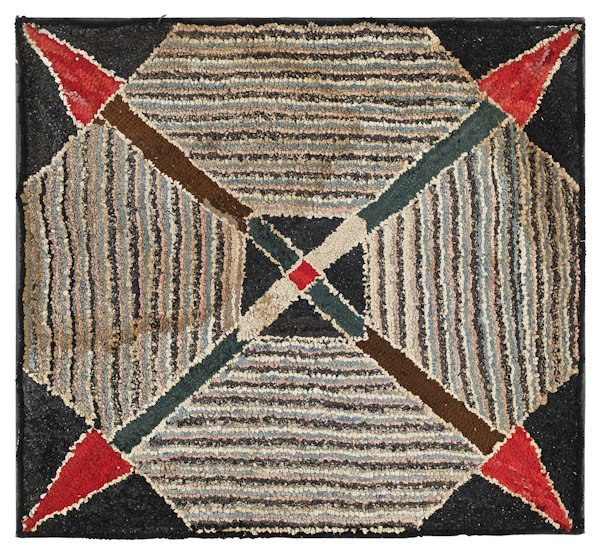 Hooked rug ''Crossed Arrows'', late 19th c., 40''