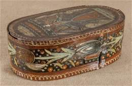 Scandinavian painted bentwood brides box early