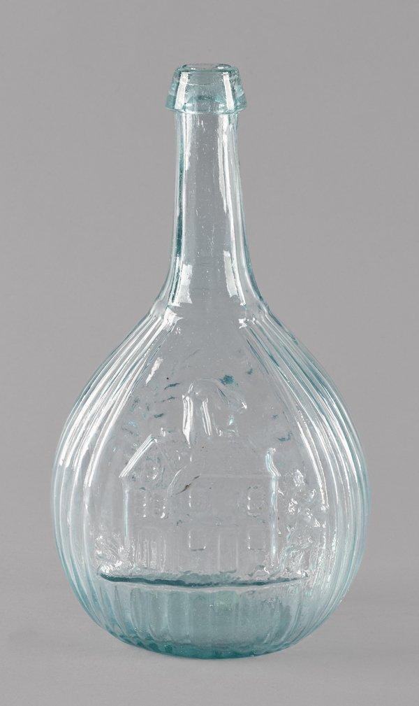 Blown aqua glass Jenny Lind bottle, 19th c., 10''