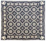 Blue and white jacquard coverlet, ca. 1840, with