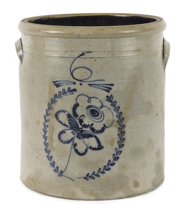 Six-gallon stoneware crock, 19th c., with a cobal