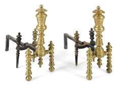 Pair of Federal brass andirons, 19th c., 22 1/4''