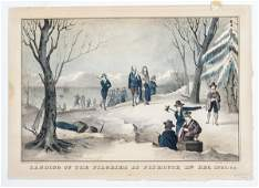 N Currier lithograph titled Landing of the Pil