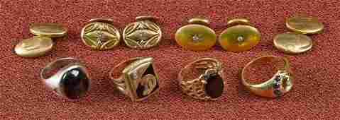 Four 14K gold men's rings, 24.6 dwt., together wi