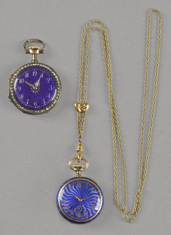 18K gold cobalt enameled lady's pocket watch with