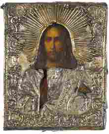 Russian silver and oil on panel icon of Christ,