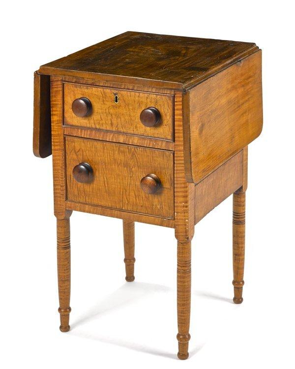 Pennsylvania Sheraton tiger maple stand, 19th c.,