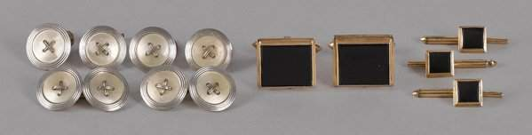 Two sets of 18K yellow gold men's dress sets, inc