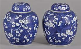 Pair of Chinese blue and white ginger jars with c