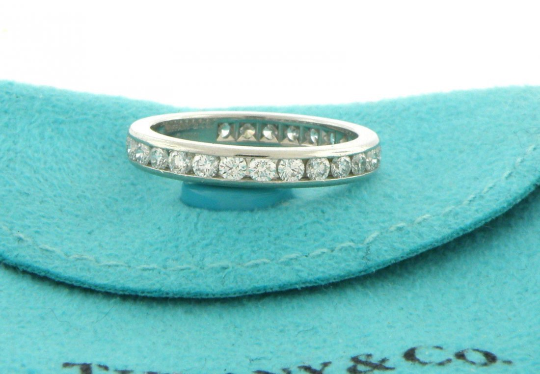 TIFFANY & Co. PLATINUM LADIES DIAMOND ETERNITY RING 3mm