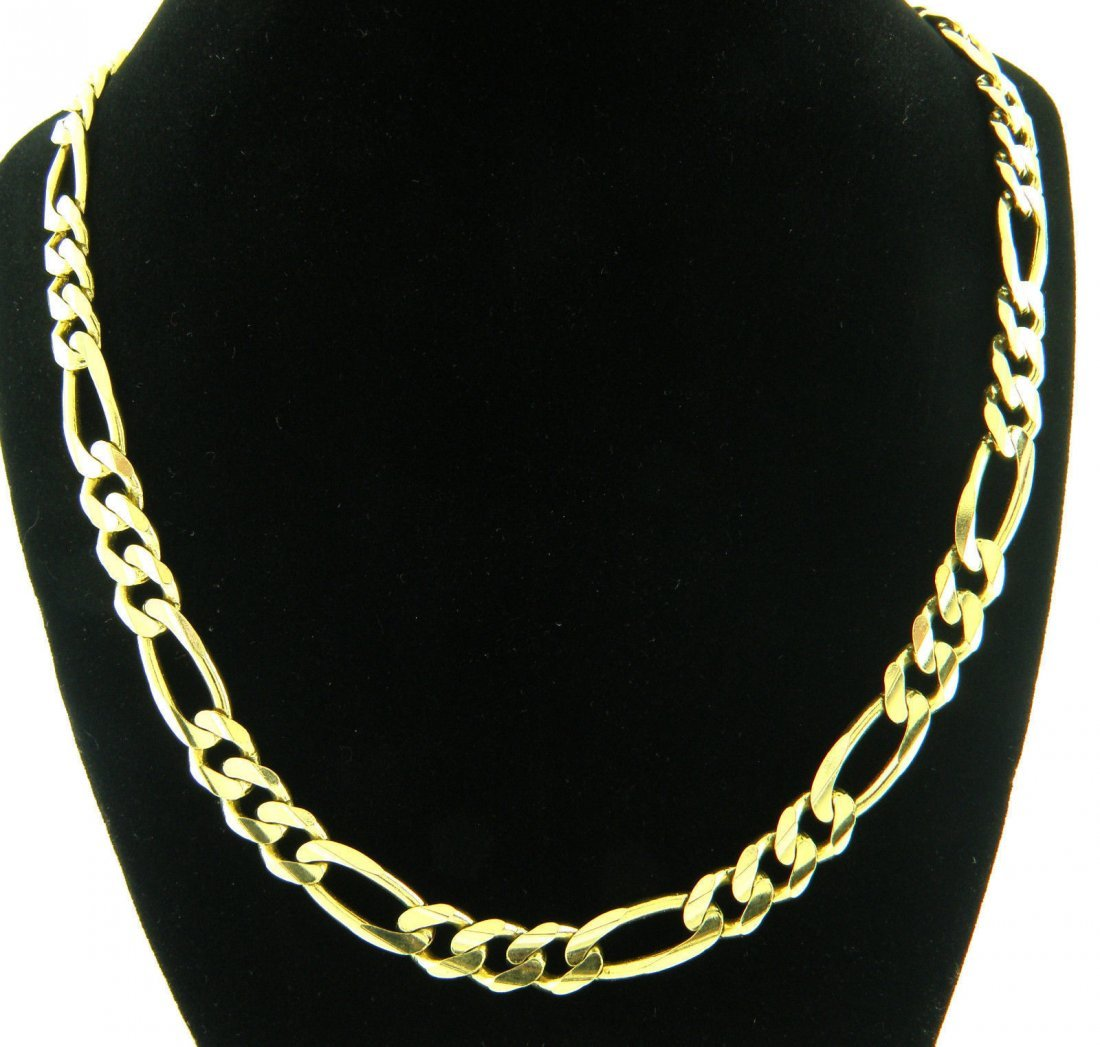 """14K YELLOW GOLD CHAIN, 24"""" UNISEX FIGARO NECKLACE 9.5mm"""