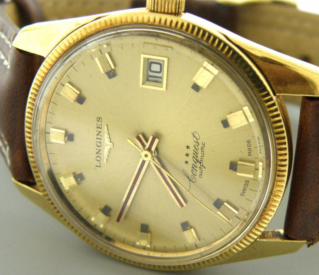 VINTAGE LONGINES CONQUEST 18K GOLD MEN'S WATCH