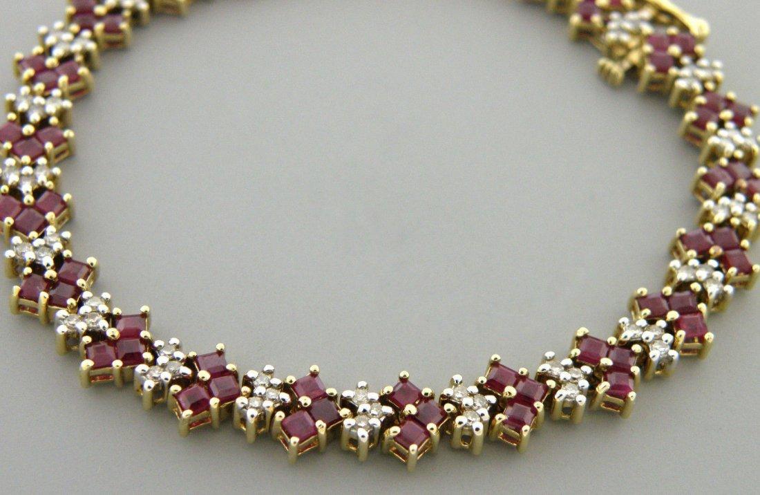 VINTAGE 14K RUBY DIAMOND PRINCESS CUT BRACELET 4.83CT