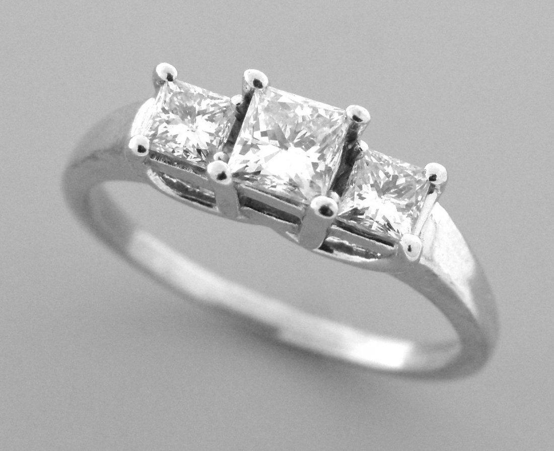 14K PLATINUM 1ct DIAMOND TRINITY THREE STONE RING H SI1