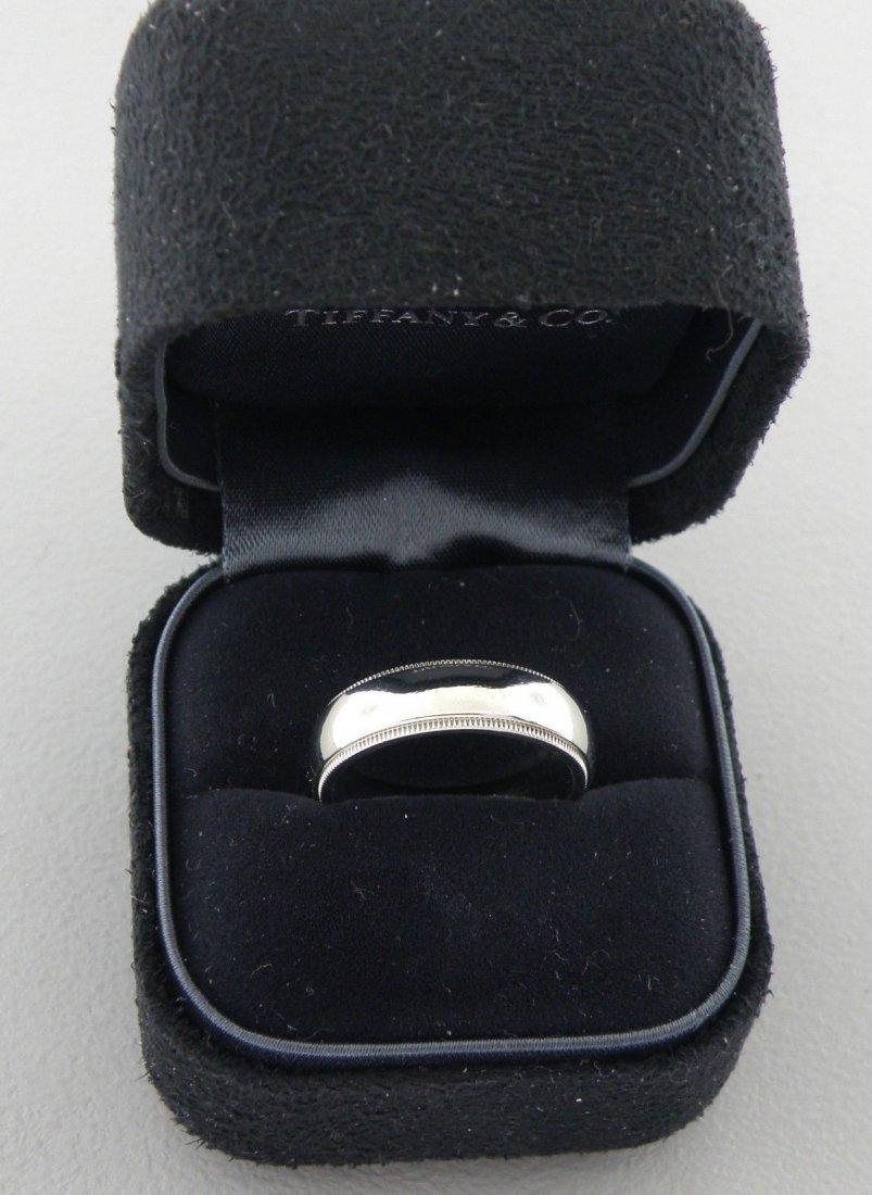 TIFFANY & CO. PLATINUM MILGRAIN 6mm WEDDING BAND RING
