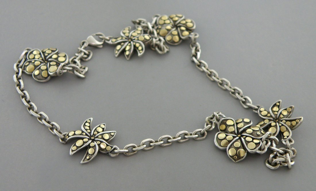 JOHN HARDY 18K GOLD STERLING SILVER FLOWER NECKLACE