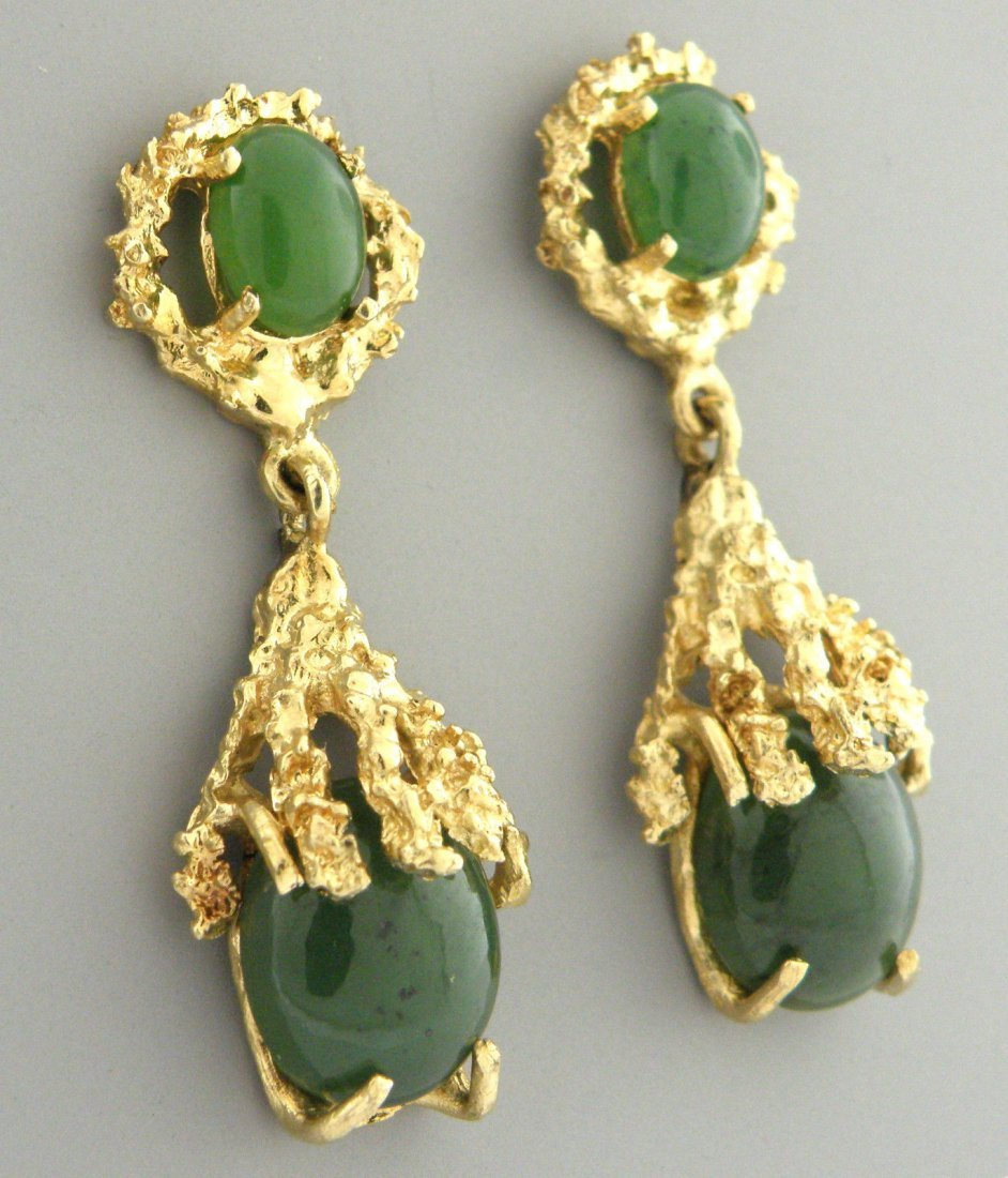 VINTAGE 14K GOLD GREEN JADE LADIES DANGLE EARRING