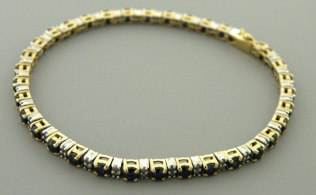 VINTAGE 14K GOLD SAPPHIRE DIAMOND TENNIS BRACELET
