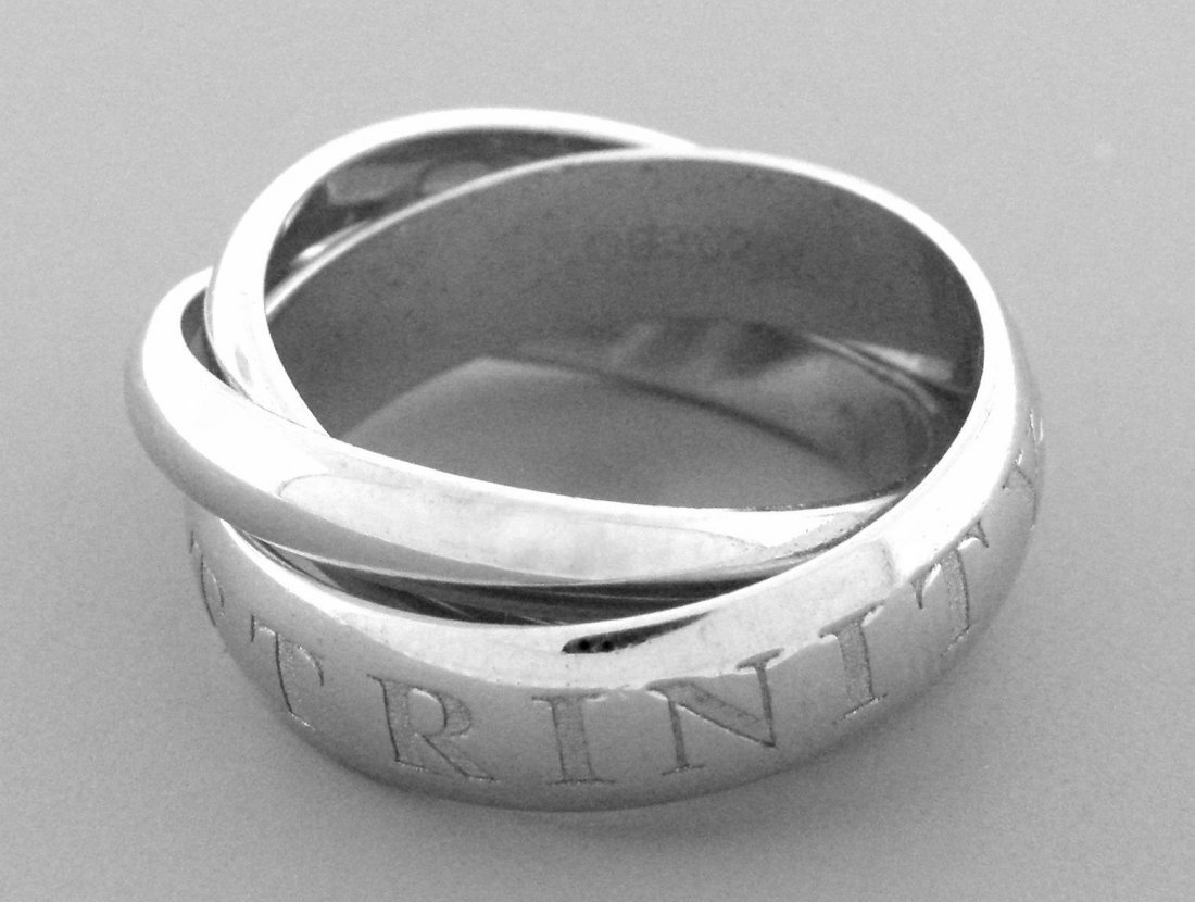 CARTIER 18K WHITE GOLD RING ET AMOUR TRINITY RING