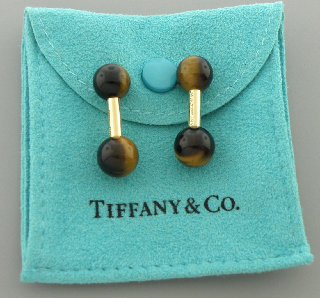 VINTAGE TIFFANY & Co. 14K TIGER EYE BARBELL CUFFLINKS