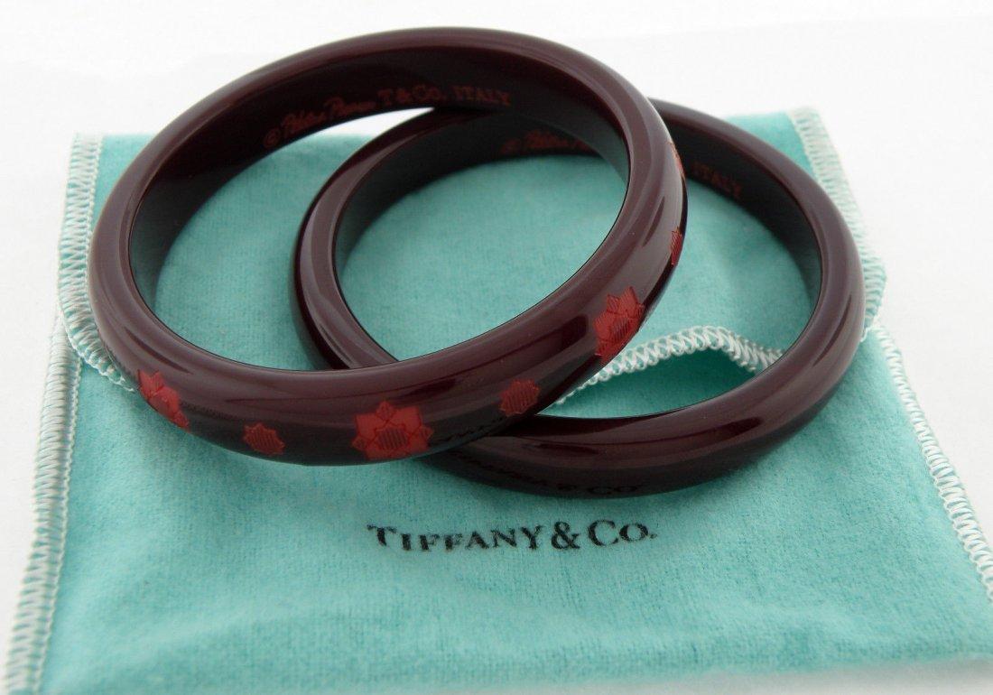 2 PIECE SET TIFFANY & Co. ZELLIGE RESIN MAROON BANGLES