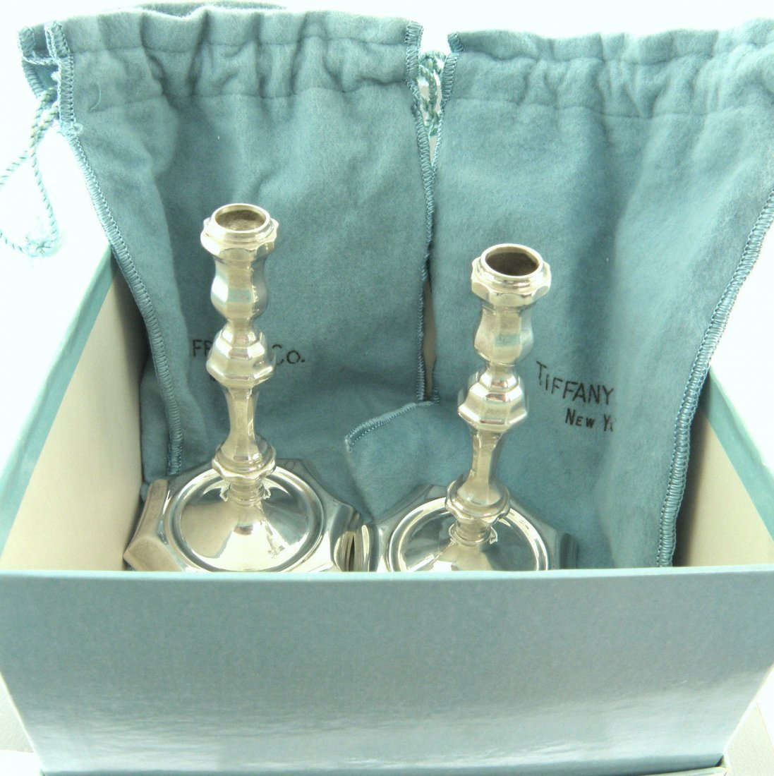 ANTIQUE TIFFANY & Co. STERLING SILVER PAIR CANDLESTICKS