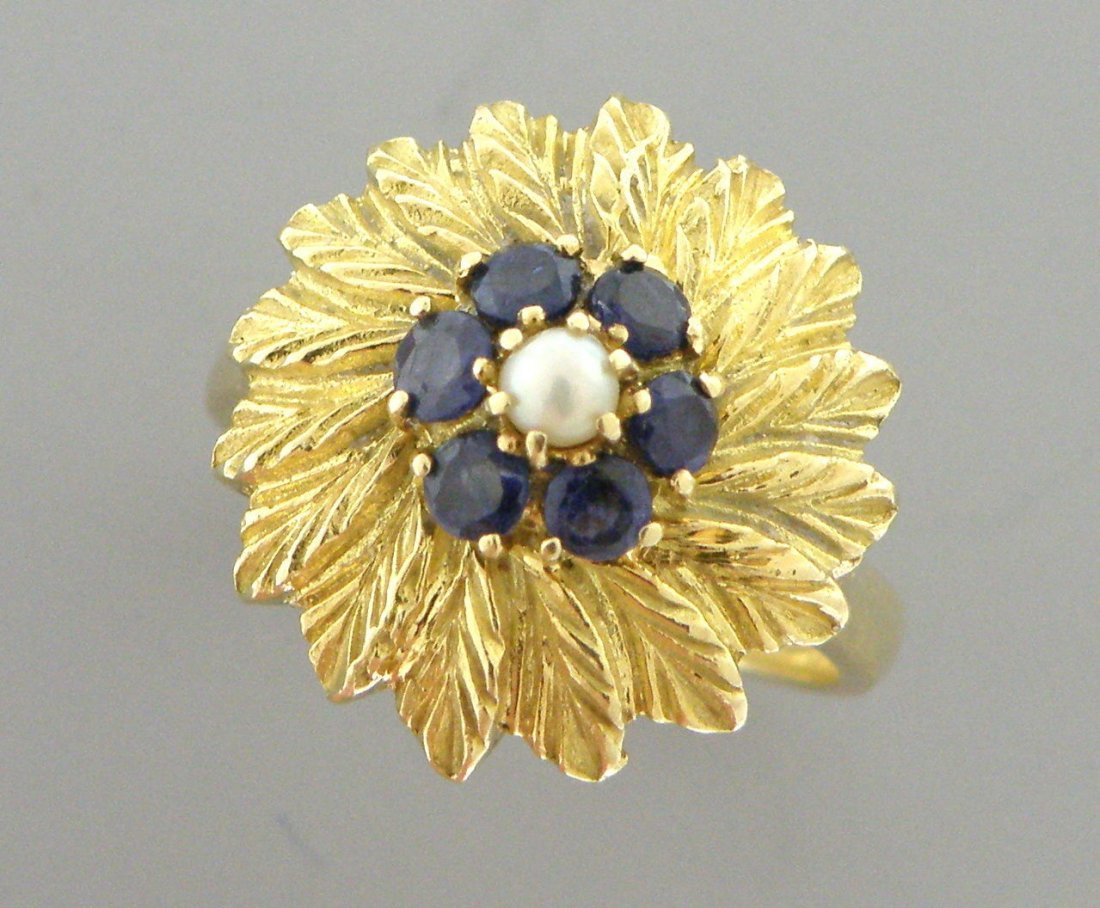 VINTAGE 18K YELLOW BLUE SAPPHIRE PEARL FLOWER DOME RING