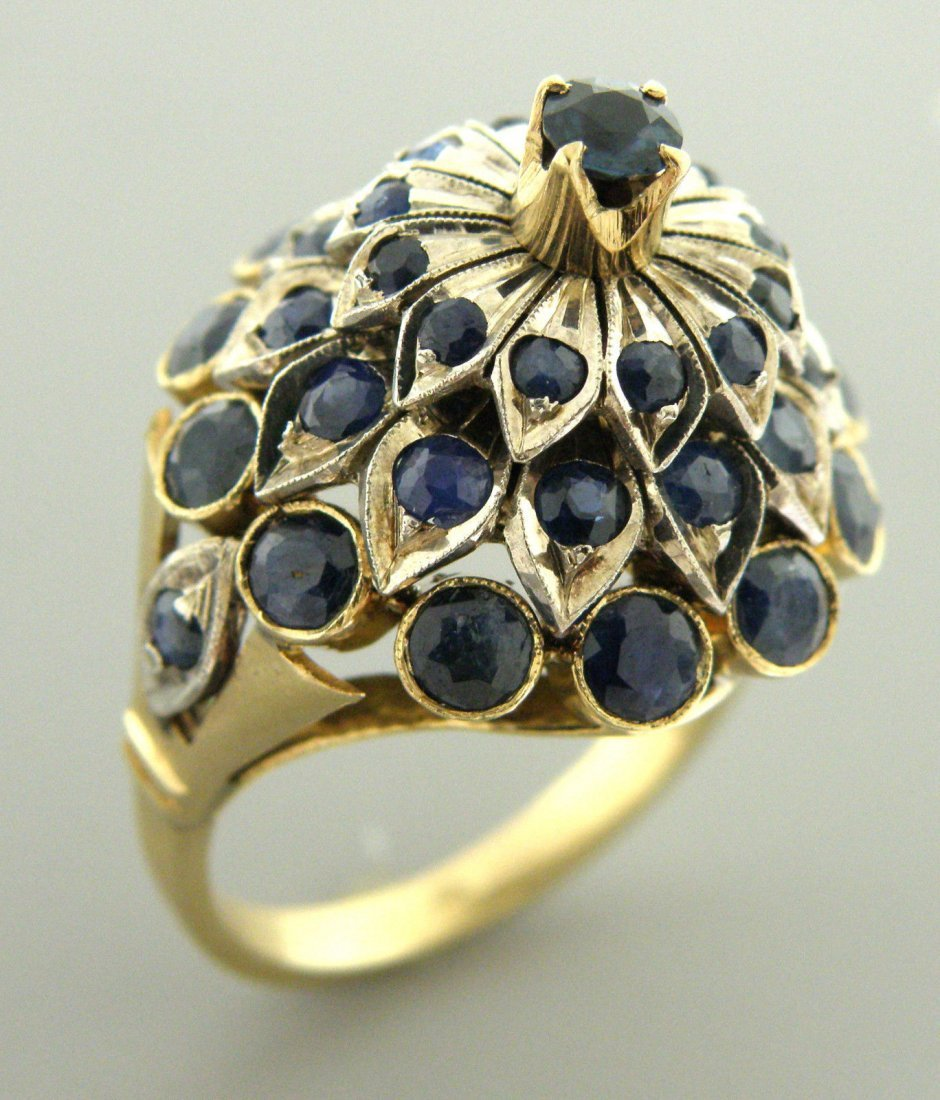 ANTIQUE VINTAGE 14K YELLOW GOLD BLUE SAPPHIRE RING