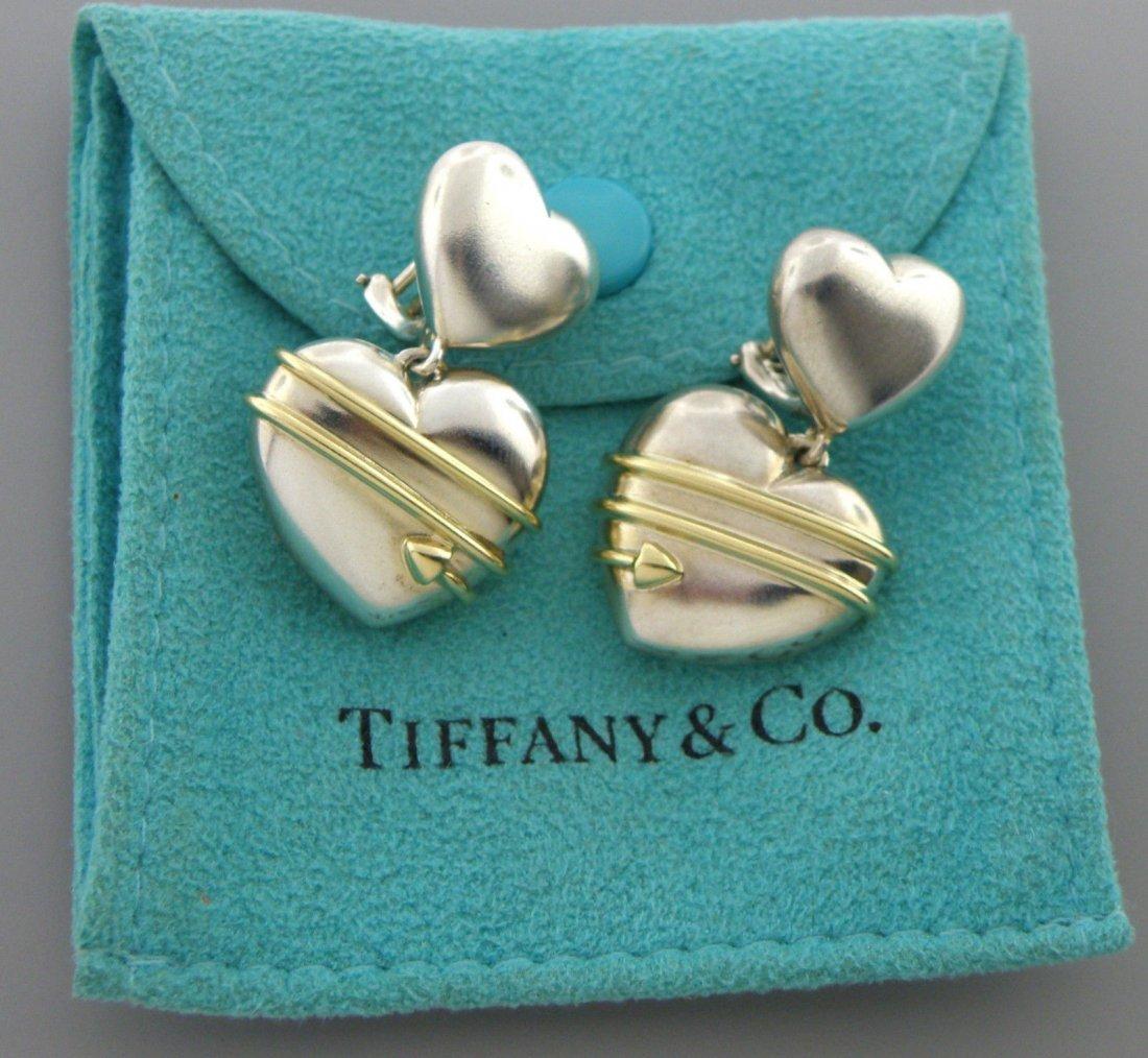 TIFFANY & Co. 18K STERLING SILVER ARROW HEART EARRINGS