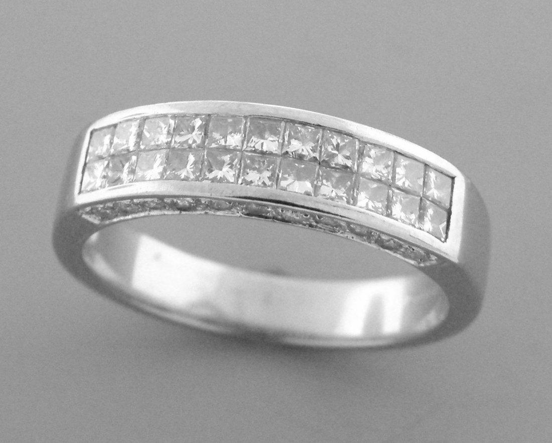 14K WHITE GOLD PRINCES CUT LADIES DIAMOND RING WEDDING