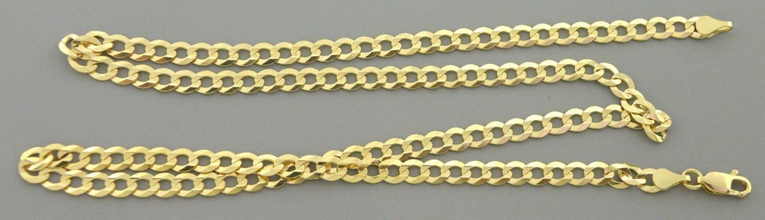 "NEW 14K YELLOW GOLD CHAIN, 18"" CURB NECKLACE 4.7mm"