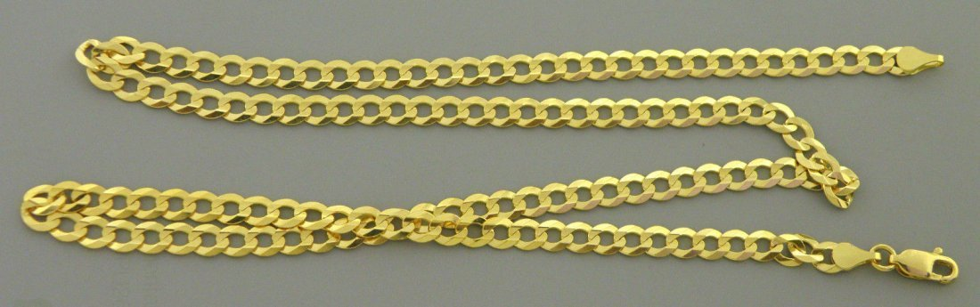 """NEW 14K YELLOW GOLD CHAIN, 16"""" CURB NECKLACE 4.7mm"""