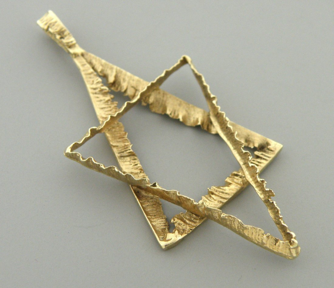 ANTIQUE 14K YELLOW GOLD UNIQUE STAR OF DAVID PENDANT