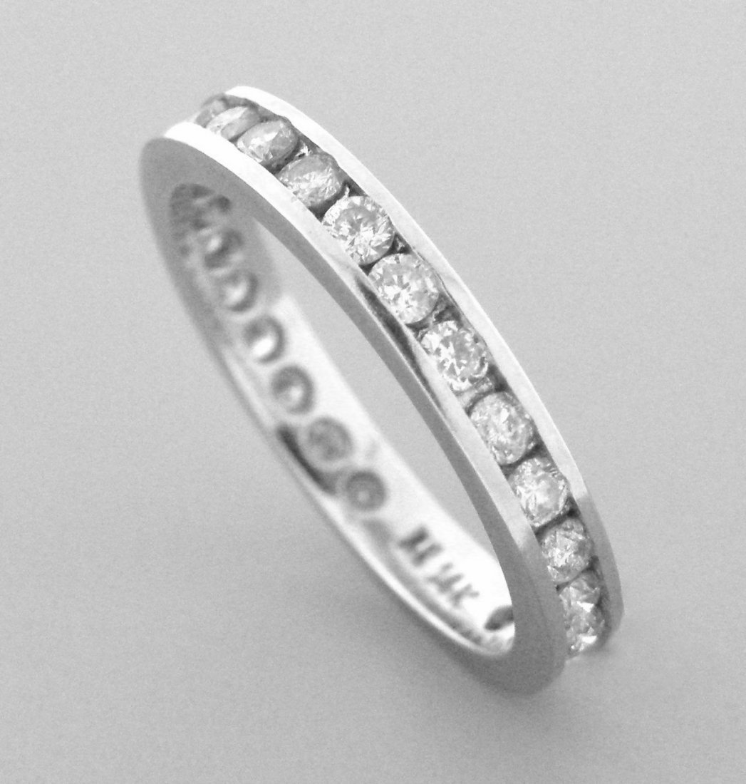 14K WHITE GOLD FULL ETERNITY DIAMOND RING WEDDING BAND