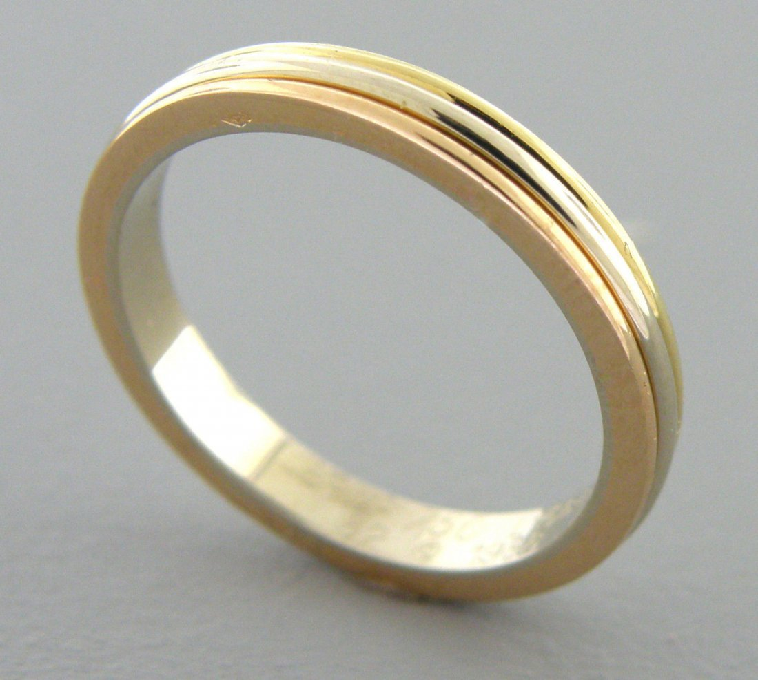 CARTIER 18K TRI-COLOR YELLOW WHITE ROSE GOLD RING
