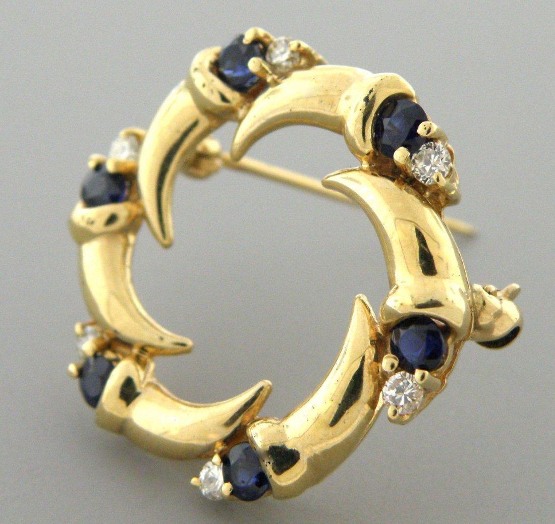 VINTAGE 14K GOLD DIAMOND SAPPHIRE CIRCLE BROOCH PIN