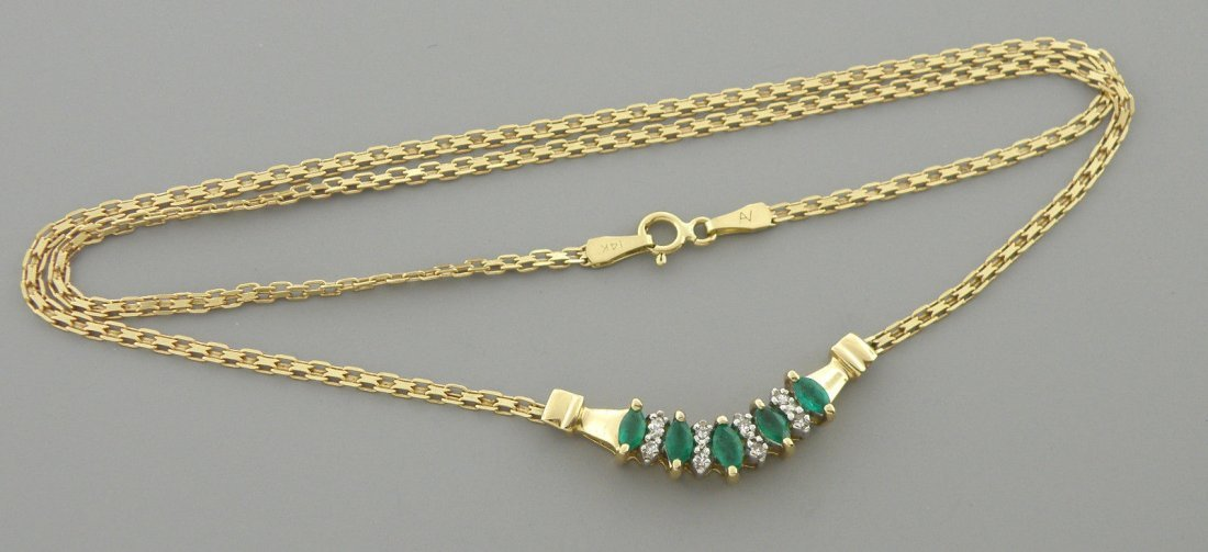 VINTAGE 14K GOLD MARQUISE CUT EMERALDS DIAMOND NECKLACE - 2