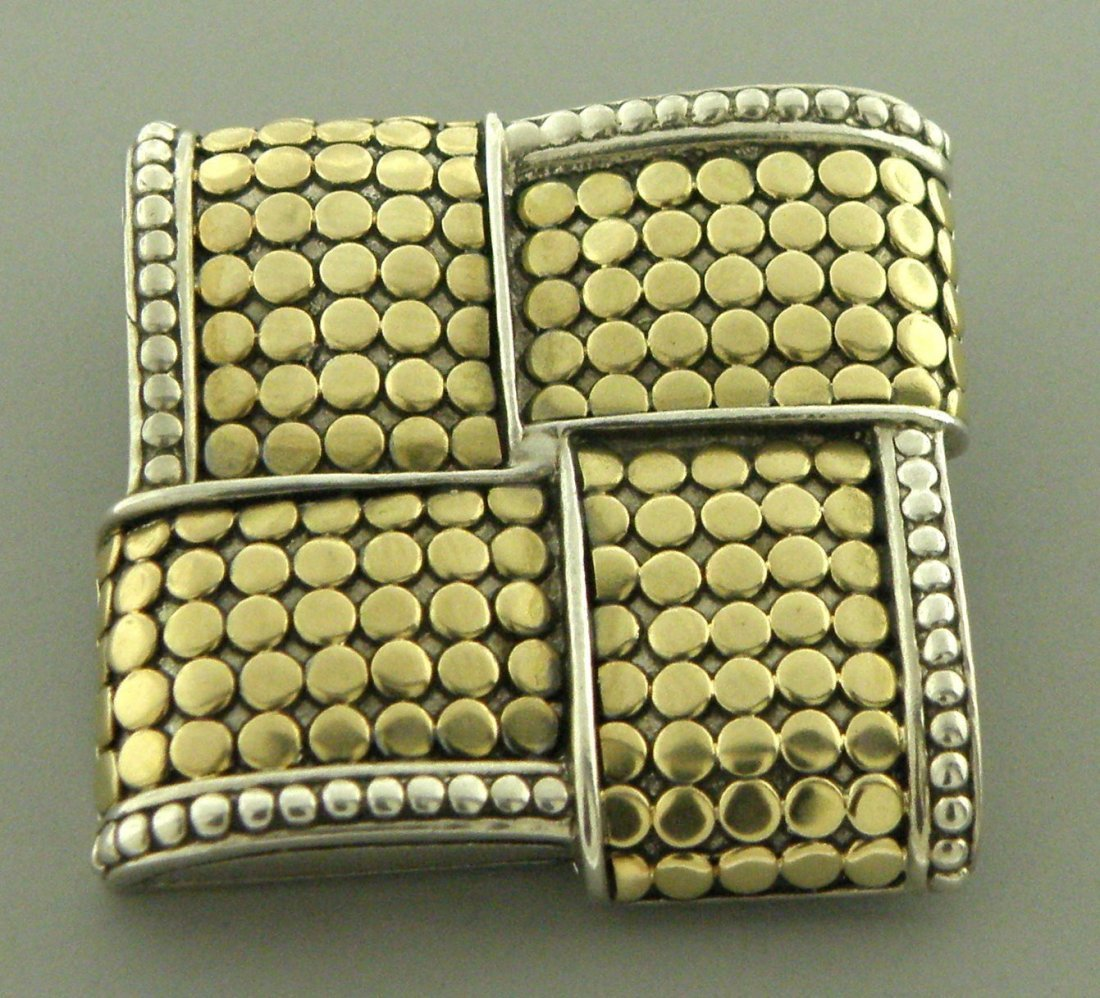 JOHN HARDY 18K GOLD STERLING SILVER DOT BROOCH PIN
