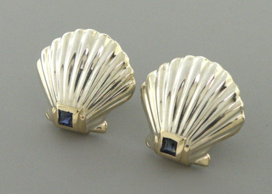 TIFFANY & Co. 14K STERLING SILVER SAPPHIRE EARRINGS