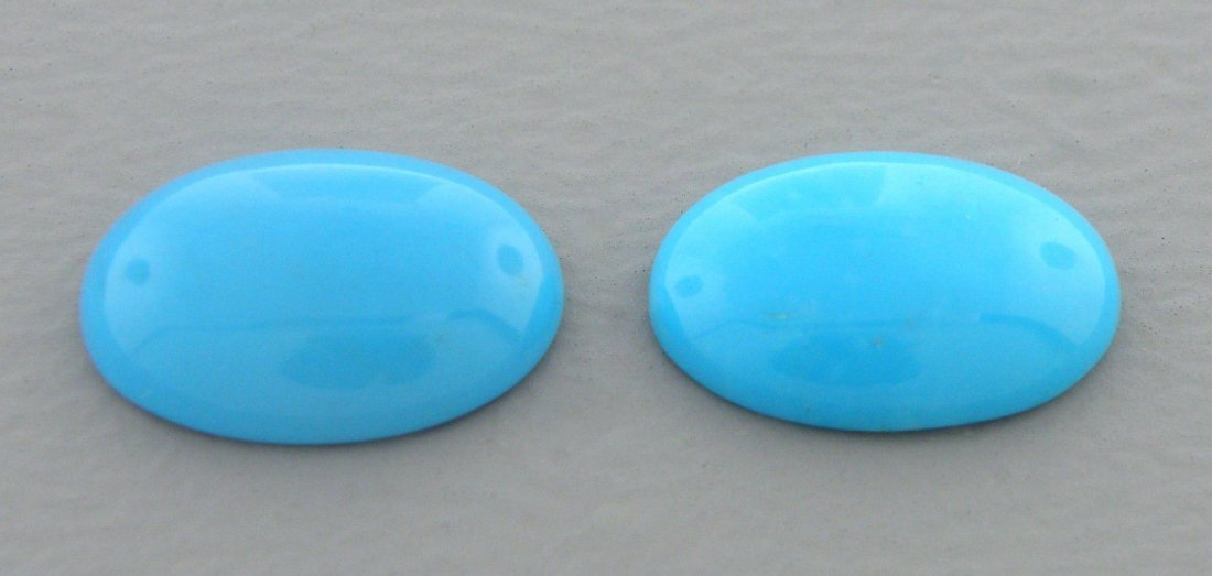NATURAL MATCHING PAIR TURQUOISE OVAL CABOCHON