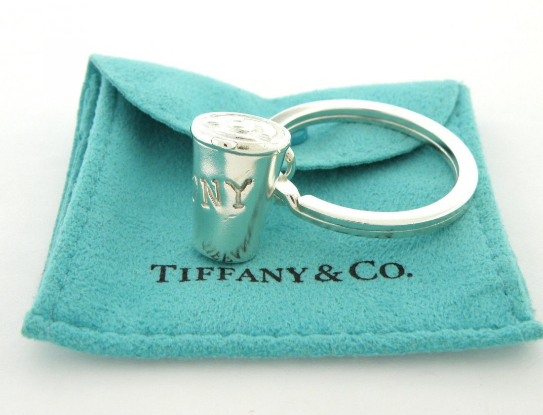 VINTAGE TIFFANY & Co. STERLING I LOVE NY COFFEE KEYRING