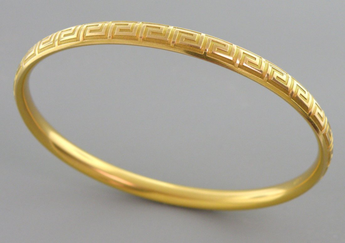 14K YELLOW GOLD GREEK KEY OVAL BANGLE BRACELET LARGE - 2