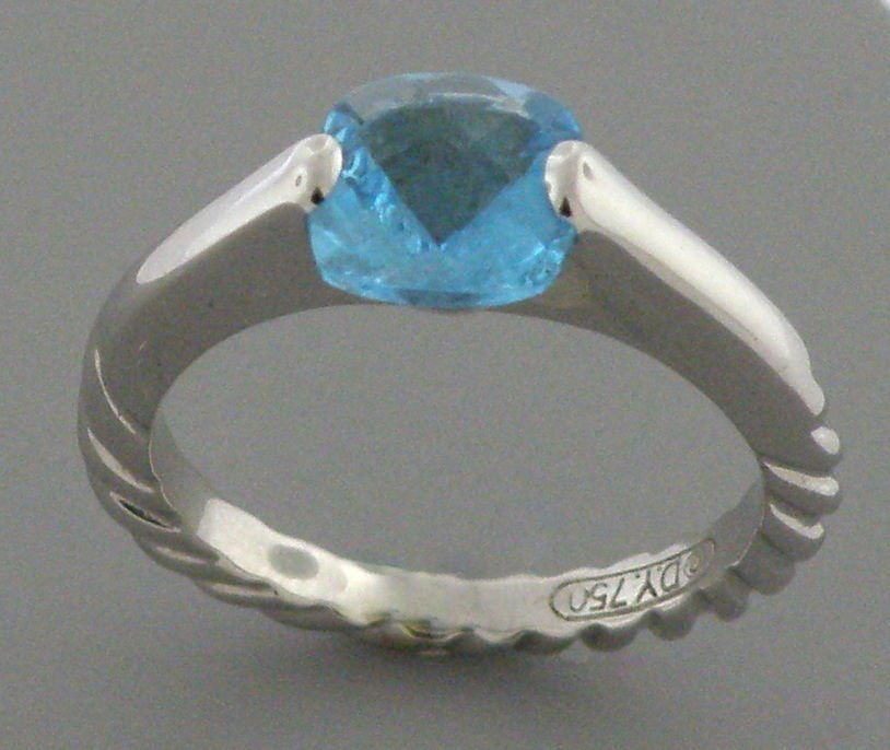 DAVID YURMAN SOLID 18K WHITE GOLD BLUE TOPAZ RING