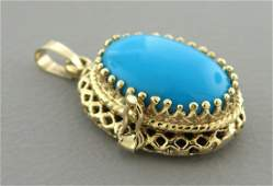 VINTAGE 14K Y/ GOLD SLEEPING BEAUTY TURQUOISE LOCKET