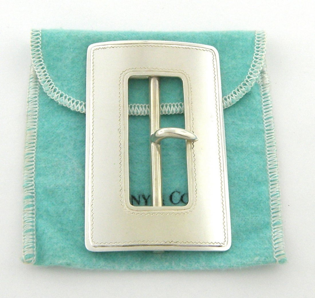 VINTAGE TIFFANY & Co. STERLING SILVER HUGE BELT BUCKLE