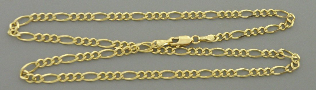 """14K YELLOW GOLD CHAIN, 20"""" UNISEX FIGARO NECKLACE 3.5mm"""
