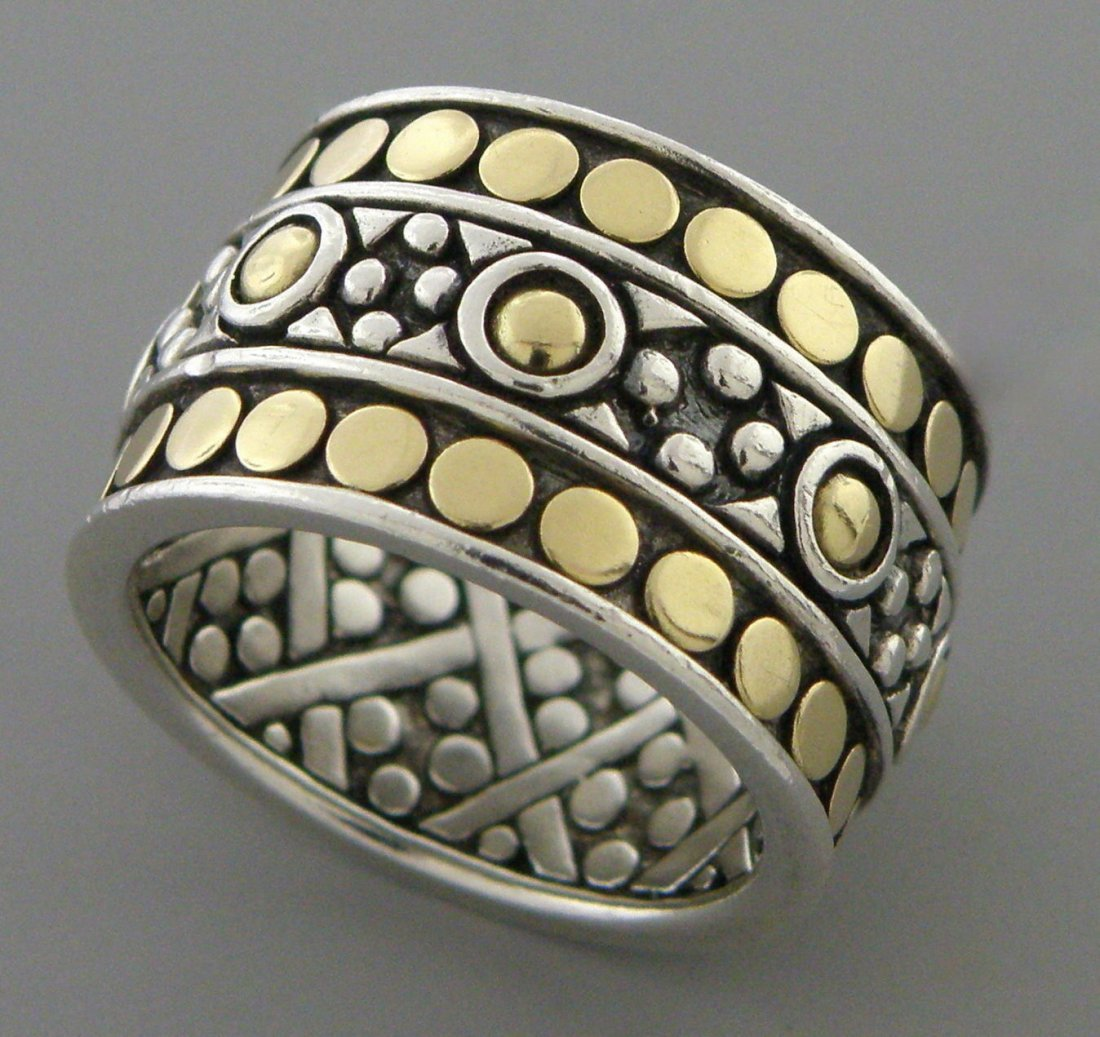JOHN HARDY 18K GOLD STERLING SILVER ETERNITY RING